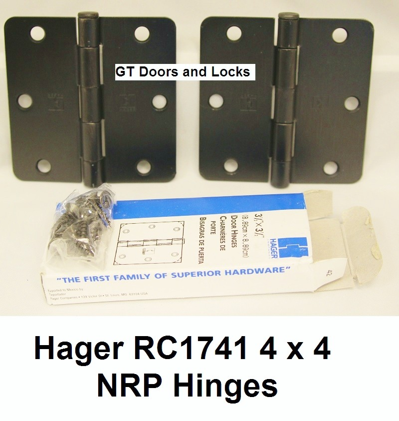 "Hager RC1741 ***** 4"" x 4"" NRP Hinges"