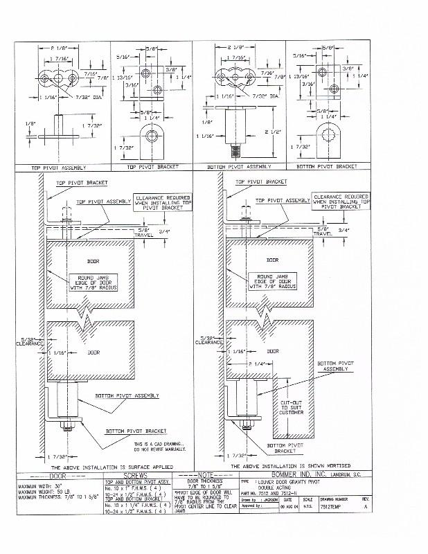 Bommer 7512 Non Hold Open Louver Door Steel Gravity Pivot