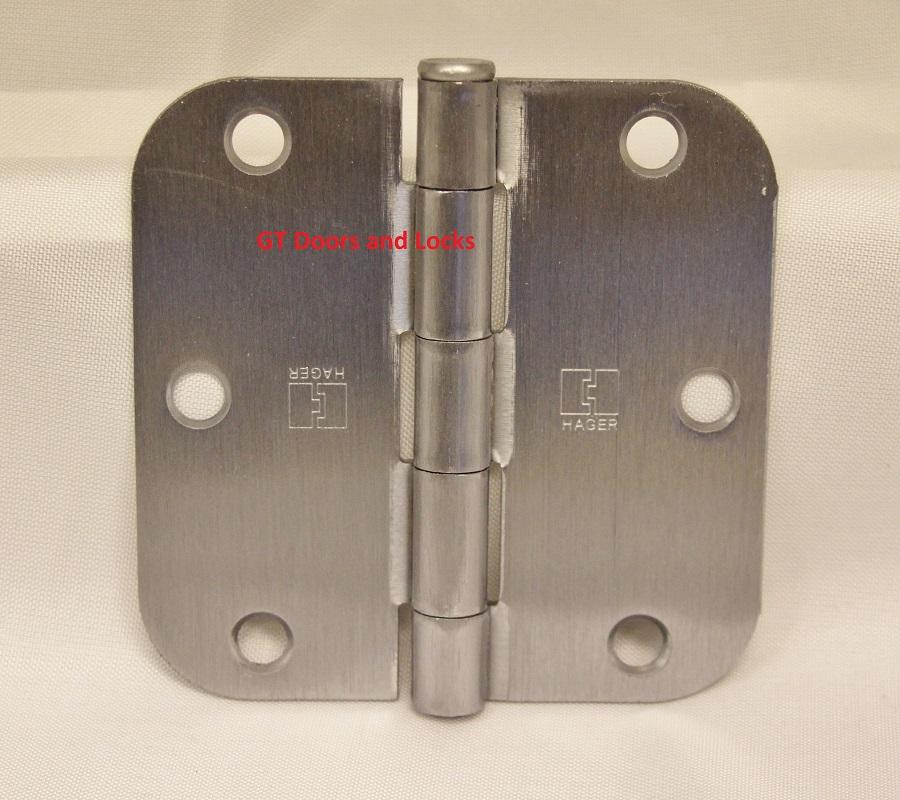 "3.5/"" x 3 1//2/"" Satin Brushed Nickel Hinge with 5//8/"" radius corner screws included"
