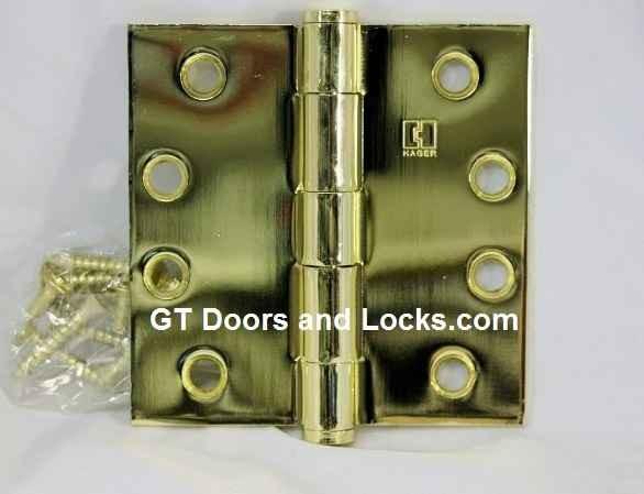 """Hager Hinge 1279 4"""" x 4"""" Square Corner Hinges Polished Brass US3"""
