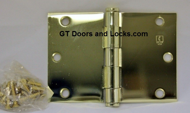 """Hager WT1279 Hinge 1 Each 3-1/2"""" x 5"""" Square Corner US3 Polished Brass Hager Wide Throw Hinges"""