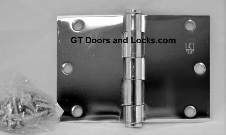 """Hager WT1279 Hinge 1 Each 3-1/2"""" x 5"""" Square Corner US26 Polished Chrome Hager Wide Throw Hinges 3-4 week lead-time"""