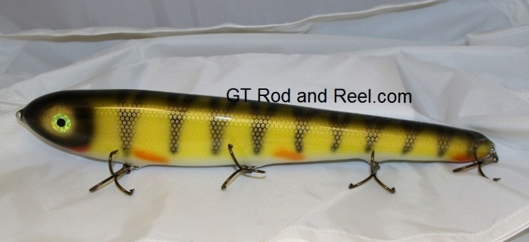 """Smuttly Dog Baits Lures 15"""" Big """"H""""  Musky Glide Bait  Color: Red Gill Perch"""