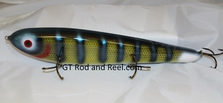 """Smuttly Dog Baits Lures 12"""" Big """"N""""  Musky Glide Bait  Color: Neon Blue Olive Perch"""