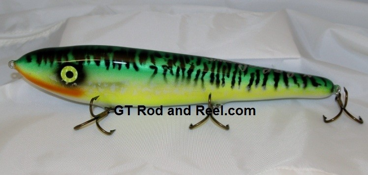 """Smuttly Dog Baits Lures 12"""" Big """"N""""  Musky Glide Bait  Color: Glowing Green Tiger"""