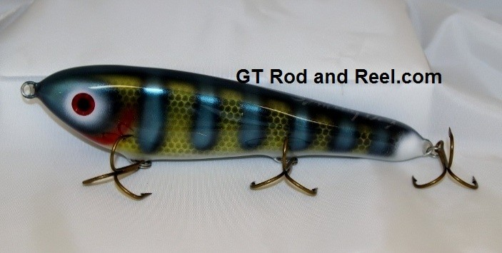 """Smuttly Dog Baits Lures 8"""" Drop Belly 8DB Musky Glide Bait  Color: Neon Blue Olive Perch"""