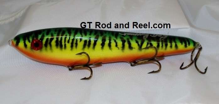 "Smuttly Dog Baits Lures 10"" Drop Belly 10DB Musky Glide Bait  Color: Sparkling Glitter Fire Tiger"