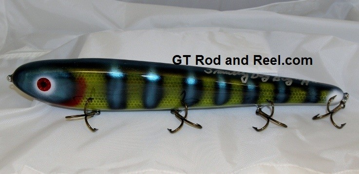 """Smuttly Dog Baits Lures 15"""" Big """"H""""  Musky Glide Bait  Color: Neon Blue Olive Perch"""