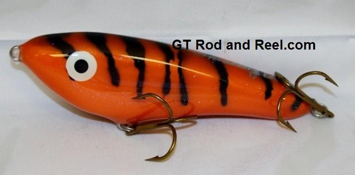 """Smuttly Dog Baits Lures 6"""" Drop Belly, Color; Orange Glitter Tiger"""
