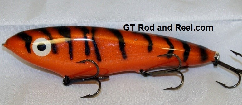 """Smuttly Dog Baits Lures 7"""" Minnow, Color; Orange Glitter Tiger"""