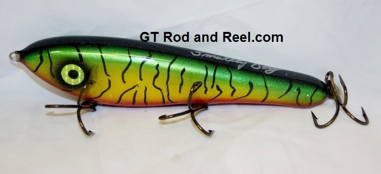 """Smuttly Dog Baits Lures 8"""" Drop Belly 8DB Musky Glide Bait  Color: Blood Belly Sparkling Tiger"""