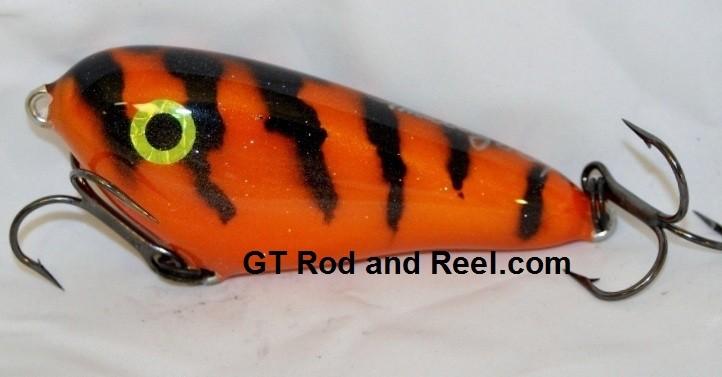 """Smuttly Dog Baits Lures 4"""" Drop Belly, Color; Orange Glitter Tiger"""