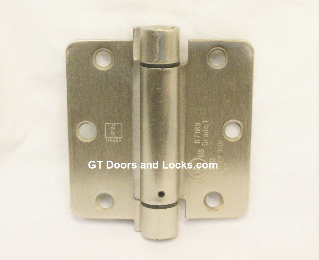"Hager Hinges 1751 1/4"" Radius  3.5"" x 3.5"" r7189 426r Self Closing Hinge US15 Satin Nickle"
