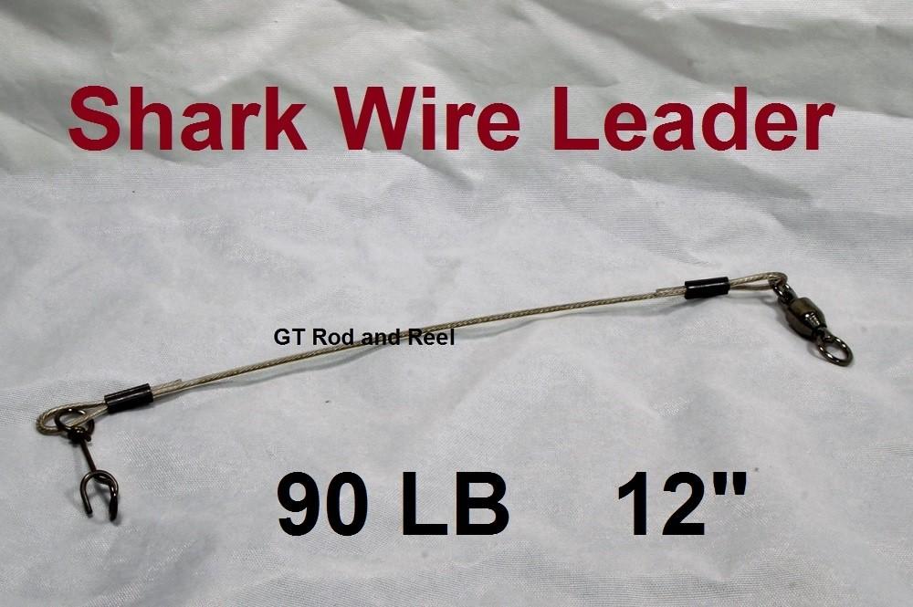 """90 LB EZ Clip Shark Wire Leader 7x7 49 Strand Nylon Coated Wire-12"""""""