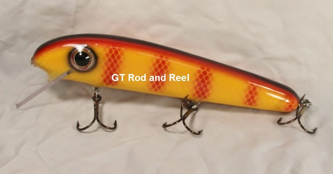 """Pearson Plugs 8"""" Minnow Shallow Diving with Hatchet Trailer  Color, Orange Bar Perch"""