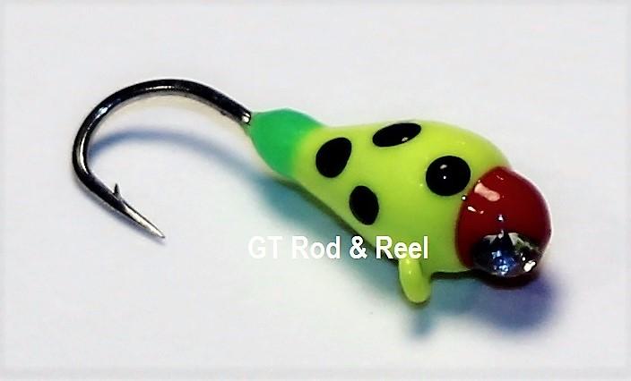 #101, 4 each Tungsten Ice Fishing Tear Drop Jig, 0.5 Gram, #16, Hook, 3.0mm, Glass Eye, Glowing Yellow Lady Bug
