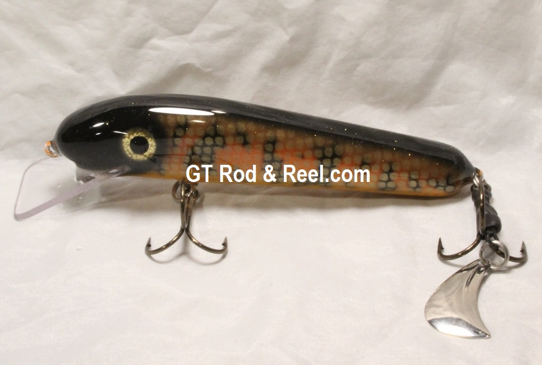 """Pearson Plugs 6"""" Minnow Shallow Diving with Hatchet Trailer  Color, Flaming Muskie"""