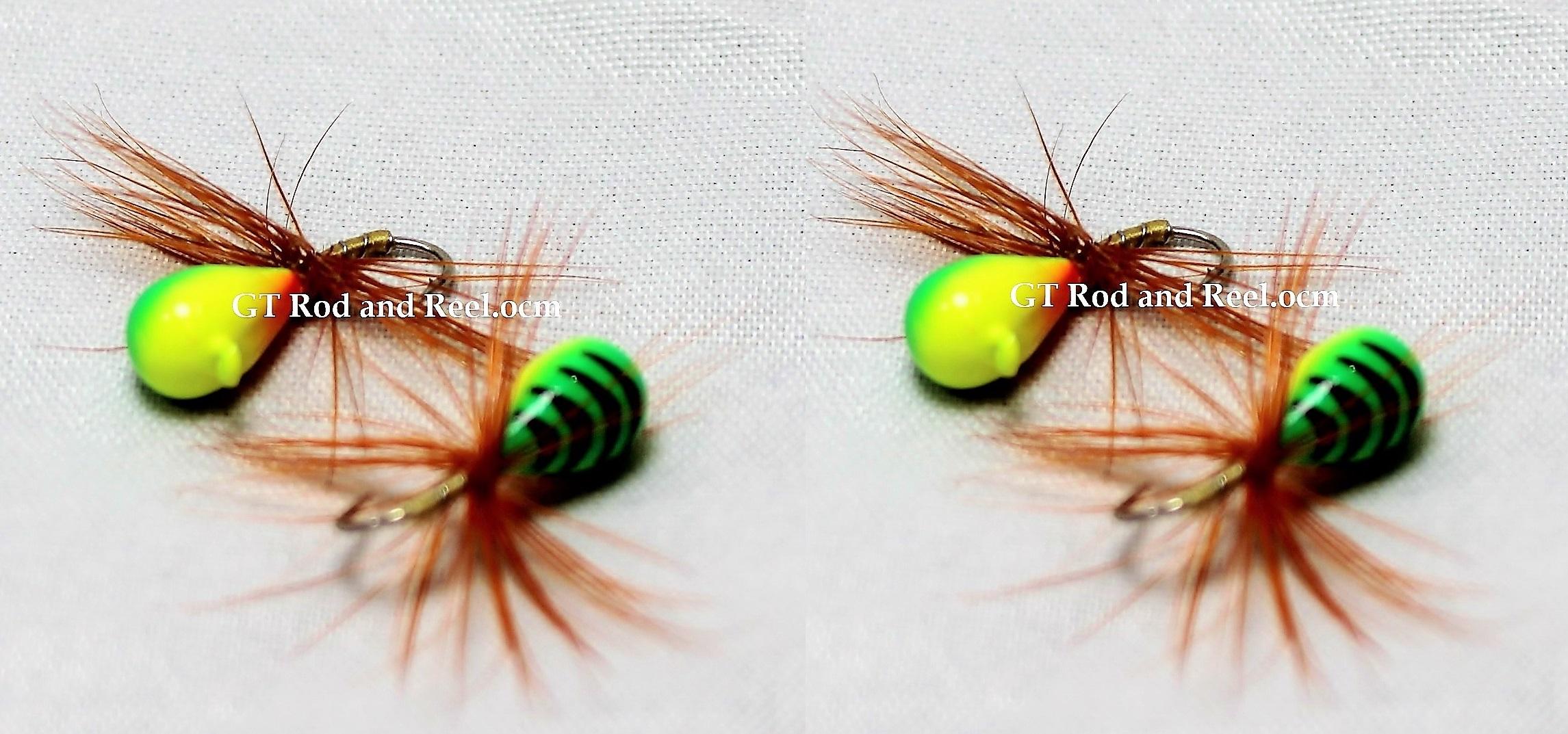 #905-f 4 each Tungsten Ice Fishing Tear Drop Jig 1.85 Gram #12 Hook w/Feather Glowing Tiger