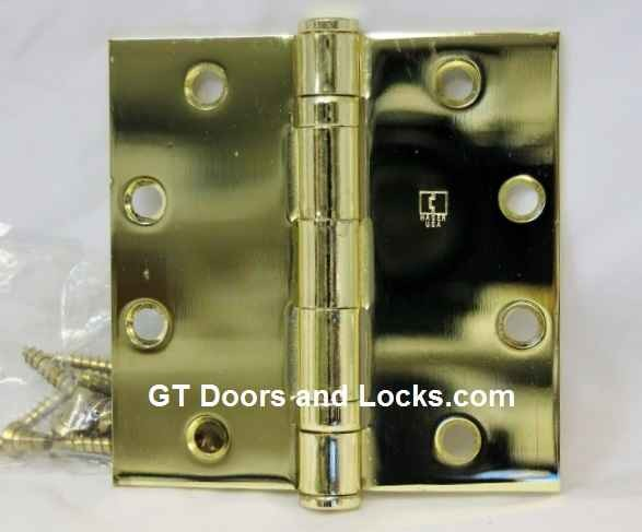 """Hager Hinge BB1191 NRP Full Mortise Ball Bearing Hinge 4 1/2"""" x 4 1/2"""" Non Removable Pin US3 Polished Brass"""