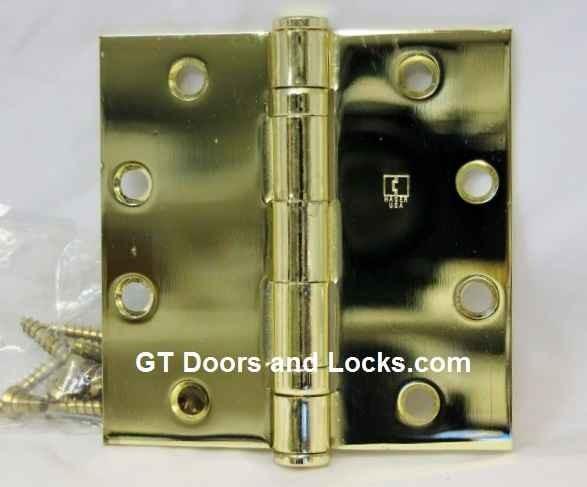 "Hager Hinge BB1191 Full Mortise Ball Bearing Hinge 4"" x 4"" US3 Polished Brass"