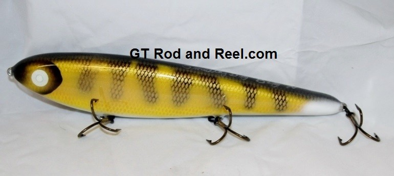 "Smuttly Dog Baits Lures 12"" Big ""N""  Musky Glide Bait  Color: Walleye"