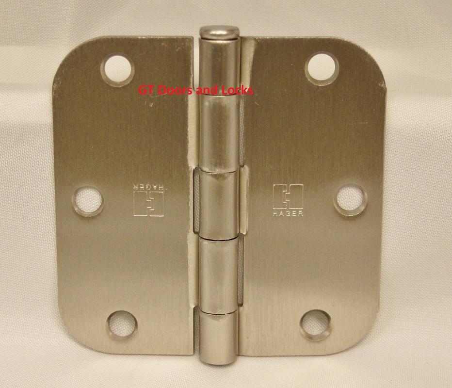 """Hager RC1842 Hinge 3-1/2"""" x 3-1/2"""" Satin Nickel 5/8"""" Radius Corner"""