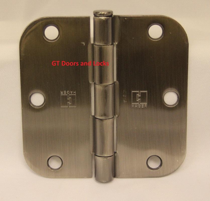 """Hager RC1842 Hinge 3-1/2"""" x 3-1/2"""" Antique Nickel 5/8"""" Radius Corner"""
