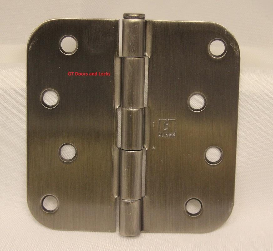 """Hager Rc1842 Hinge 4"""" x 4"""" Antique Nickel 5/8"""" Radius Corner"""
