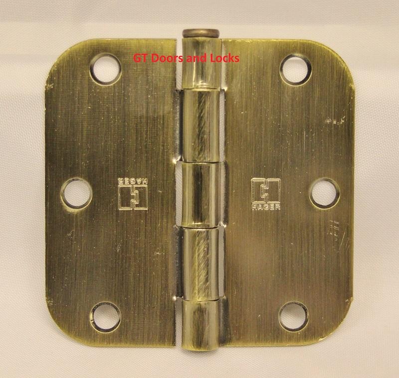 """Hager RC1842 Hinge 3-1/2"""" x 3-1/2"""" Antique Brass 5/8"""" Radius Corner"""