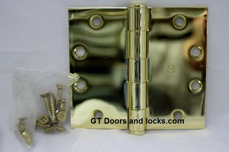 "Hager WT1279 Hinge 1 Each 4-1/2"" x 5"" Square Corner US3 Polished Brass  Hager Wide Throw Hinges"