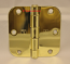 "Hager RC1842 Hinge 3-1/2"" x 3-1/2"" Polished Brass 5/8"" Radius Corner"