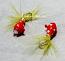 #900-fg 4 each Tungsten Ice Fishing Tear Drop Jig 1.85 Gram #12 Hook w/Feather & Glass Eye Glowing Lady Bug