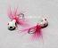 #904-f 4 each Tungsten Ice Fishing Tear Drop Jig 1.85 Gram #12 Hook w/Feather Glowing Wonder Bread