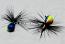 #906-f 4 each Tungsten Ice Fishing Tear Drop Jig 1.85 Gram #12 Hook w/Feather Glowing Blue Tiger