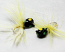 #907-f 4 each Tungsten Ice Fishing Tear Drop Jig 1.85 Gram #12 Hook w/Feather Glowing Black Bug