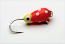 #100, 4 each Tungsten Ice Fishing Tear Drop Jig, 0.5 Gram, #16, Hook, 3.0mm, Glass Eye, Glowing Lady Bug