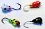 #104-0123, 4 Tungsten Ice Fishing Tear Drop Jig, 0.5 Gram, #16, Hook, 3.0mm, 1 each, Glowing Wonder Bread, Black Bug, Lady Bug, Yellow Lady Bug