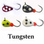 #404-0123, 4 Tungsten Ice Fishing Tear Drop Jigs, 1 Gram, #14 Hook, 4.0mm size, Black, Red, White, Yellow Glow Spot