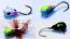 #513, 4 Tungsten Ice Fishing Tear Drop Jigs, 1.1 Gram, #14, Hook, 4.0mm, Wonder Bread-Blue Tiger-Green Feathered Tiger-Black Bug