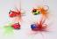 #908-911-fg 4 Tungsten Ice Fishing Tear Drop Jigs 1.85 Gram #12 Hook w/Feather -Glowing Gold Fish-Ruby-Blue Bread-Pink Parrot