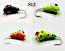 #812-4 Tungsten Ice Fishing Wax Worm Jig 1.7 Gram #14 Hook Glowing Yellow Lady Bug-Fire Tiger-Glow Plug-Midnight Red Eye