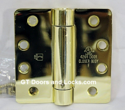 "Hager Hinges 1251 1/4"" Radius Corner US3 Polished Brass 4 x 4 Self Closing Hinge"