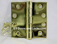 "Hager Hinge 1279 4-1/2"" x 4-1/2'"" Square Corner Hinges Bright Brass US3"