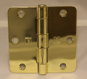 """Hager RC1541 1/4"""" Radius 3.5"""" x 3.5"""" Solid Brass Us3 Polished Brass"""
