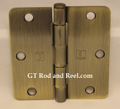 "Hager Hinges RC1741 3.5"" x 3.5"" us5 Antique Brass 1/4' Radius Hinge"
