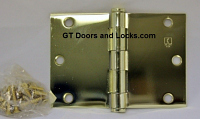 "Hager WT1279 Hinge 1 Each 3-1/2"" x 5"" Square Corner US3 Polished Brass Hager Wide Throw Hinges"