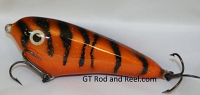 "Smuttly Dog Baits Lures 5"" Drop Belly, Color; Orange Glitter Tiger"