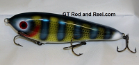 """Smuttly Dog Baits Lures 7"""" Drop Belly, Color; Neon Blue Olive Perch"""