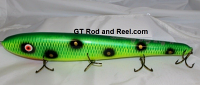 "Smuttly Dog Baits Lures 15"" Big ""H""  Musky Glide Bait  Color: Green Frog"