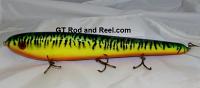 "Smuttly Dog Baits Lures 15"" Big ""H""  Musky Glide Bait  Color: Sparkling Glitter Fire Tiger"